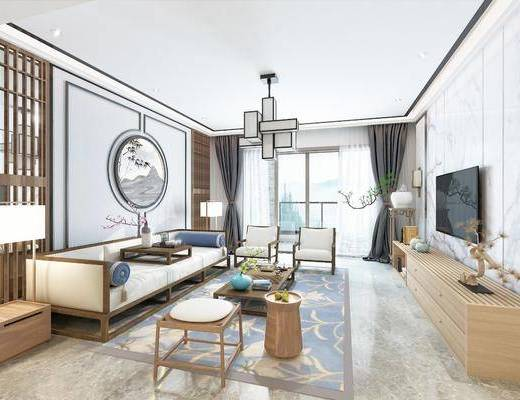 沙发组合, 墙饰, 茶几, 吊灯, 电视柜, 摆件组合, 洗手盆, 餐桌