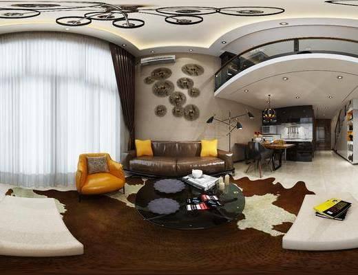 现代客餐厅, 双人沙发, 吊灯, 壁画, 电视柜, 茶几, 椅子, 落地灯, 置物柜, 现代