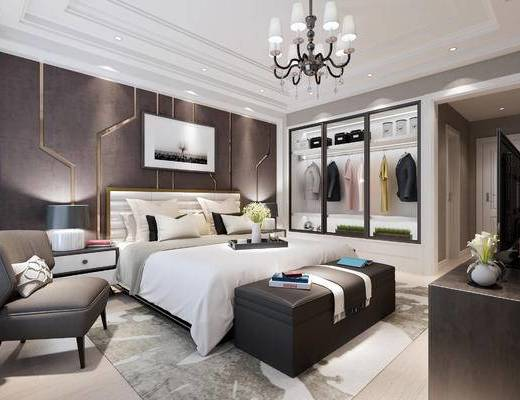 现代卧室, 双人床, 床头柜, 单人沙发, 吊灯, 衣柜, 现代