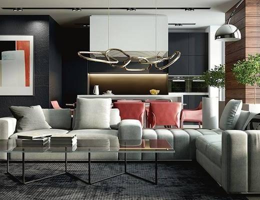 现代客厅, 壁画, 吊灯, 多人沙发, 茶几, 落地灯, 桌子, 椅子, 现代