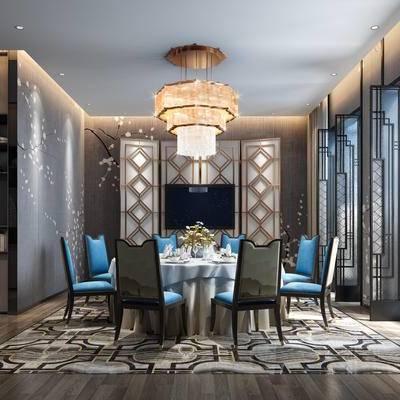 现代包间, 吊灯, 桌子, 椅子, 置物柜, 壁画, 地毯, 现代