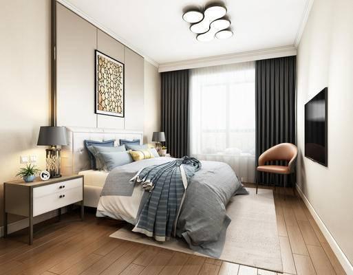 现代简约, 卧室, 床具组合, 壁灯, 椅子