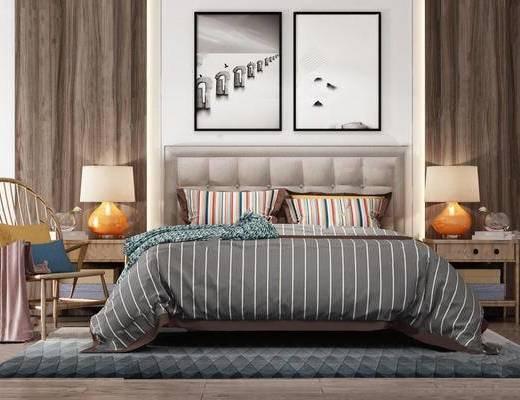 北欧简约, 床具组合, 台灯, 椅子, 床头柜