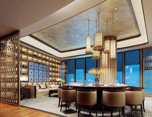 新中式, 餐厅, 包厢, 餐桌, 餐具, 吊灯, 沙发, 茶几