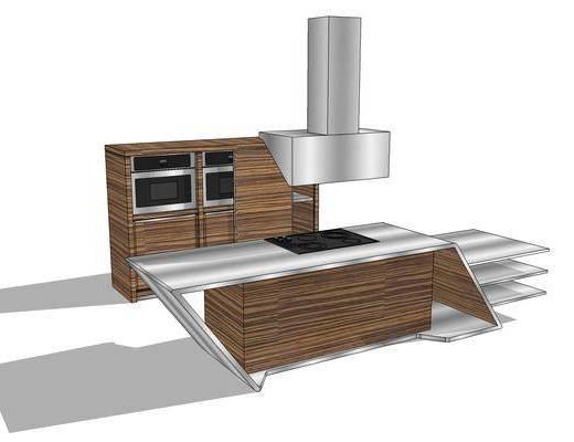 厨柜, 橱柜, 油烟机, 吧台, 现代, 厨房