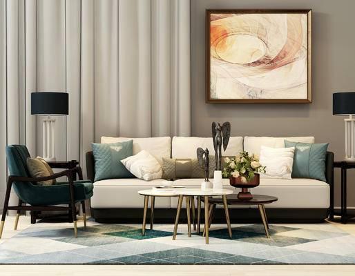 现代, 沙发, 茶几, 台灯, 挂画, 花瓶