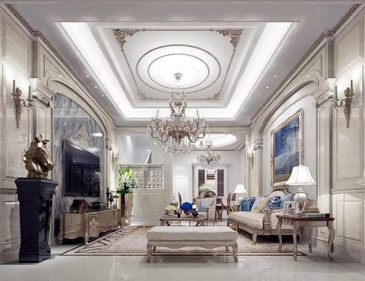 欧式客厅, 吊灯, 多人沙发, 茶几, 电视柜, 边几, 台灯, 沙发凳, 桌子, 椅子, 欧式