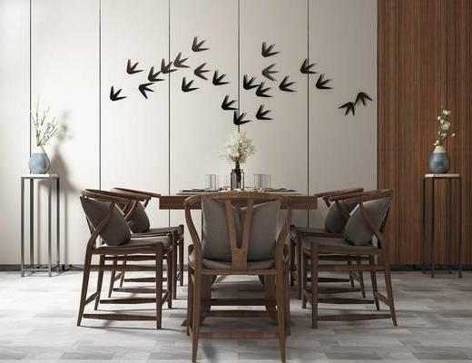 桌椅组合, 桌子, 椅子, 壁画, 边几, 花瓶, 新中式