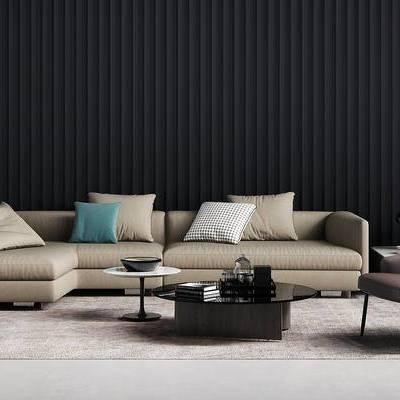 沙发组合, 茶几, 多人沙发, 椅子, 边几, 现代