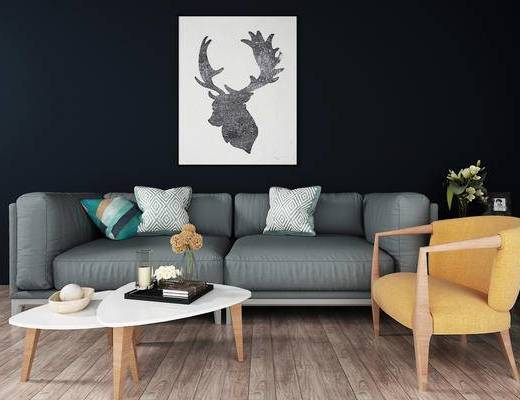 双人沙发, 壁画, 茶几, 椅子, 现代