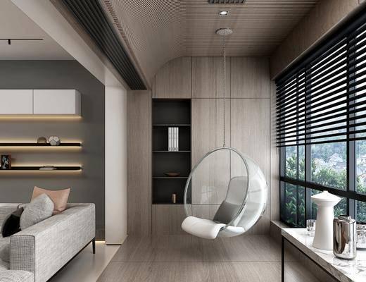 现代客厅, 多人沙发, 椅子, 储物柜, 储物架, 桌子, 现代