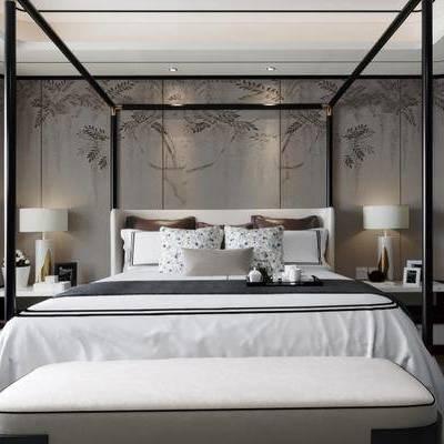新中式卧室, 双人床, 床头柜, 台灯, 相框, 床尾塌, 壁画, 新中式