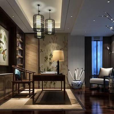 新中式书房, 吊灯, 置物柜, 桌子, 椅子, 壁画, 台灯, 新中式