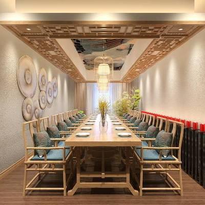 饭厅, 餐桌, 椅子, 吊灯, 壁画, 中式