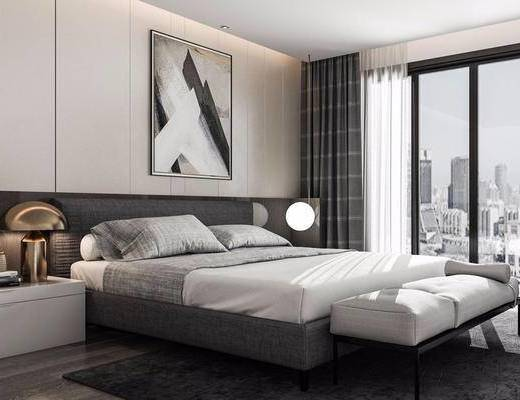 现代, 卧室, 床, 挂画, 台灯, 床头柜, 脚踏, 窗帘