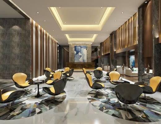 休息区, 桌子, 椅子, 壁画, 多人沙发, 现代