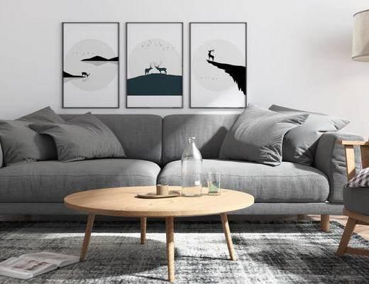 现代客厅, 客厅, 电视柜, 陈设品, 盆栽, 摆件, 植物, 挂画, 装饰画, 茶几, 落地灯, 沙发组合, 双人沙发, 多人沙发, 单人沙发, 休闲沙发