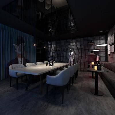 酒吧, 壁画, 多人沙发, 桌子, 椅子, 现代