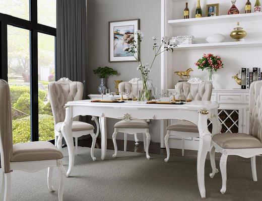欧式简约, 白色, 餐桌椅组合, 桌椅组合, 陈设品组合, 餐具组合