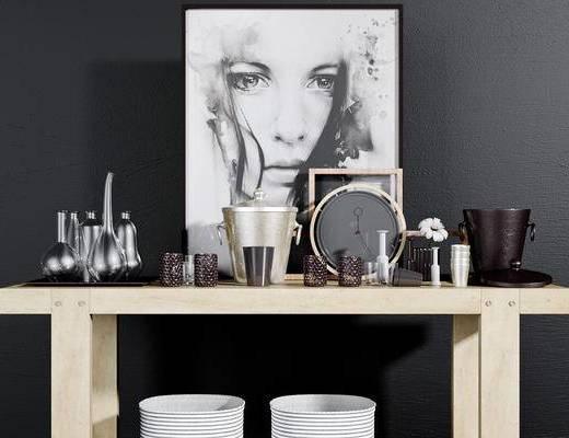 后现代, 桌子, 化妆品组合