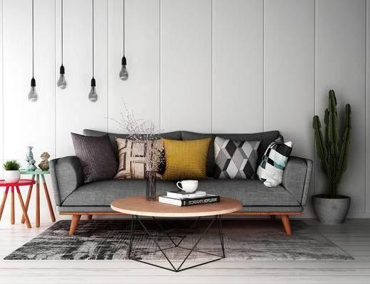 沙发组合, 多人沙发, 茶几, 边几, 吊灯, 北欧