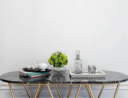 摆件组合, 花瓶, 桌子, 现代
