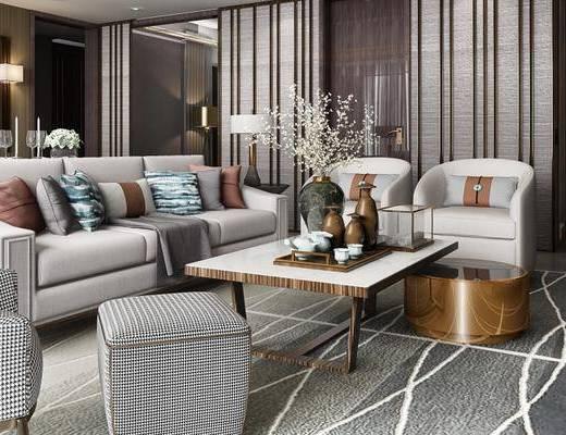 现代客餐厅, 电视柜, 壁灯, 多人沙发, 茶几, 椅子, 桌子, 边几, 台灯, 现代