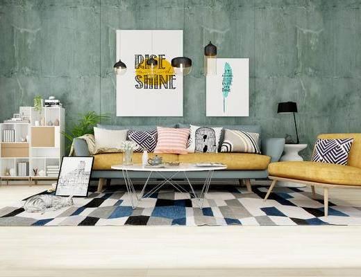 田园风沙发组合, 多人沙发, 茶几, 宠物猫, 书架, 绿植, 挂画, 田园风