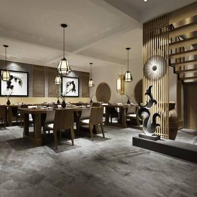 中式, 餐厅, 桌椅组合, 吊灯, 餐具组合, 1000套空间酷赠送模型
