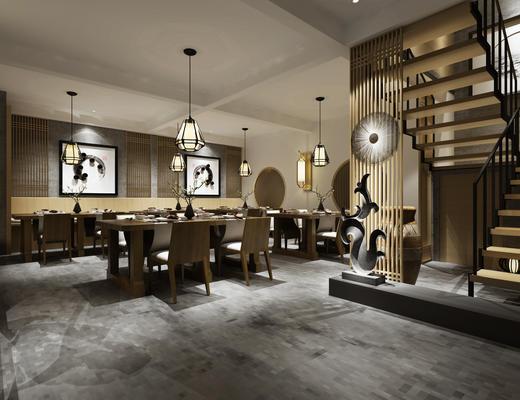 中式, 餐厅, 桌椅组合, 吊灯, 餐具组合