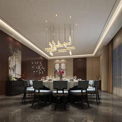 中式包间, 吊灯, 桌子, 椅子, 壁画, 边柜, 花瓶, 中式