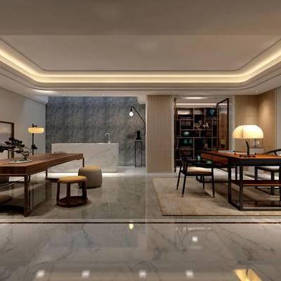 中式书房, 桌子, 椅子, 壁画, 台灯, 边几, 置物柜, 中式
