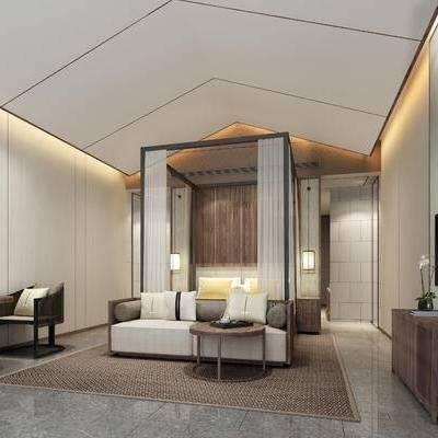 现代卧室, 双人床, 多人沙发, 茶几, 桌子, 椅子, 壁画, 吊灯, 边柜, 地毯, 现代