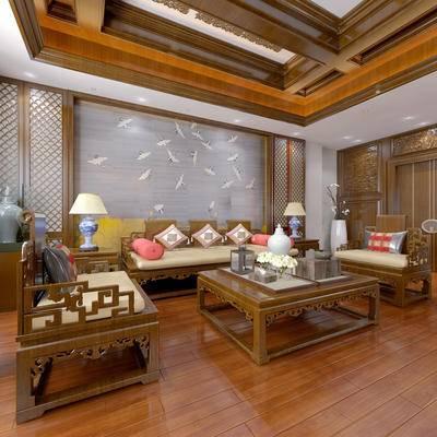 新中式茶室, 新中式沙发, 茶几, 边几, 壁画, 台灯, 花瓶, 新中式