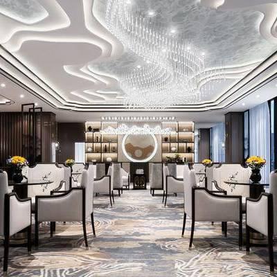 新中式售樓處, 新中式桌椅, 吊燈, 儲物柜, 壁燈, 壁畫, 花瓶, 地毯, 新中式