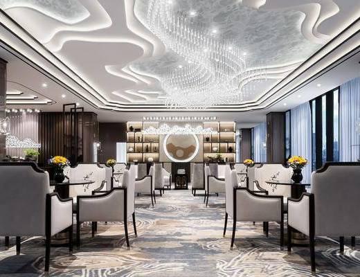 新中式售楼处, 新中式桌椅, 吊灯, 储物柜, 壁灯, 壁画, 花瓶, 地毯, 新中式