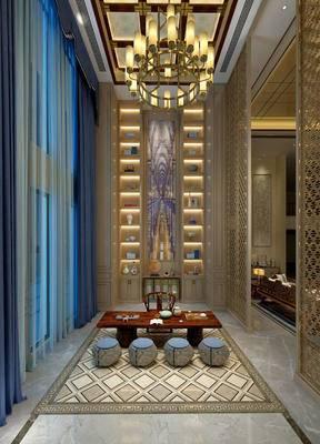 茶室, 吊灯, 置物柜, 桌子, 椅子, 壁画, 边几, 台灯, 新中式