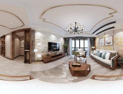 客厅, 电视柜, 台灯, 新中式沙发, 茶几, 壁画, 椅子, 桌子, 落地灯, 置物柜, 地毯, 新中式