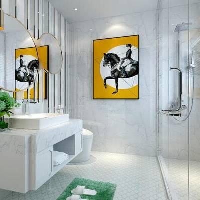卫浴, 镜子, 洗手台, 壁画, 淋浴间, 马桶, 现代