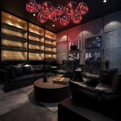 酒吧, 多人沙发, 茶几, 酒柜, 壁画, 吊灯, 现代
