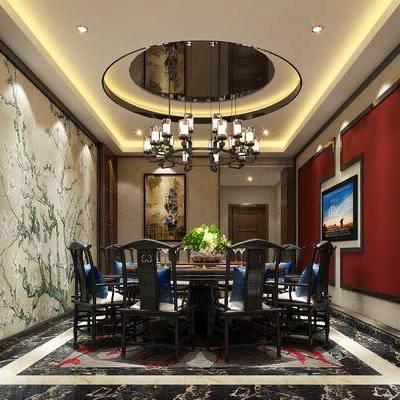 中式包间, 桌子, 椅子, 壁画, 吊灯, 中式