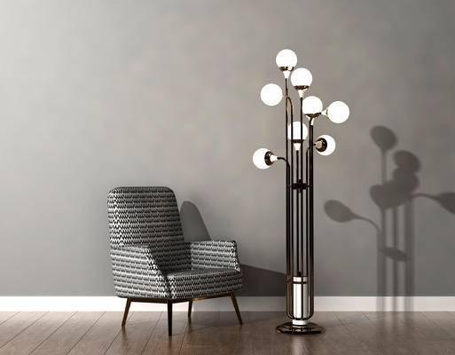 单人沙发, 落地灯, 现代