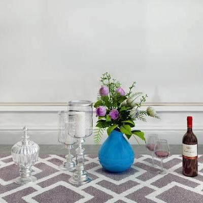 摆件组合, 花瓶, 杯子, 简欧