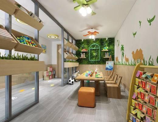 桌椅组合, 玩具, 绿植墙, 墙饰