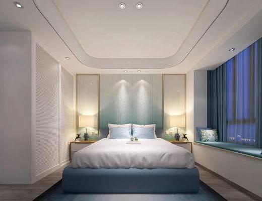 床具组合, 双人床, 壁画, 床头柜, 台灯, 现代