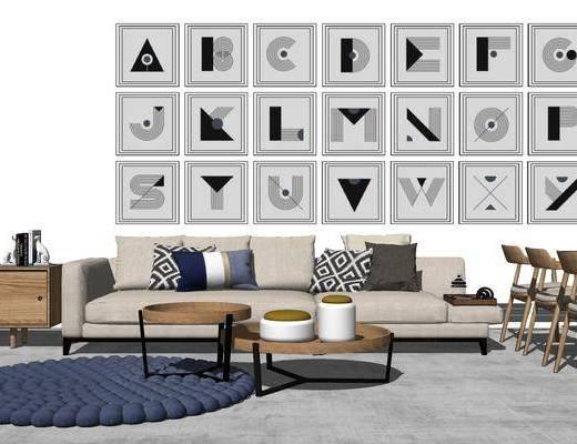沙发组合, 多人沙发, 壁画, 茶几, 桌子, 椅子, 边柜, 地毯, 北欧