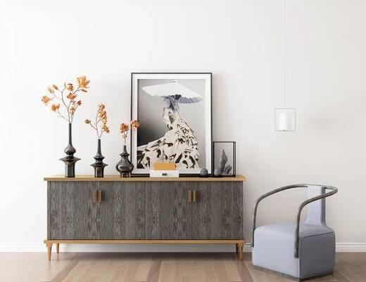 摆件组合, 装饰柜, 装饰画, 椅子, 花瓶, 新中式