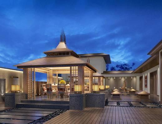 中式庭院, 桌子, 椅子, 台灯, 中式