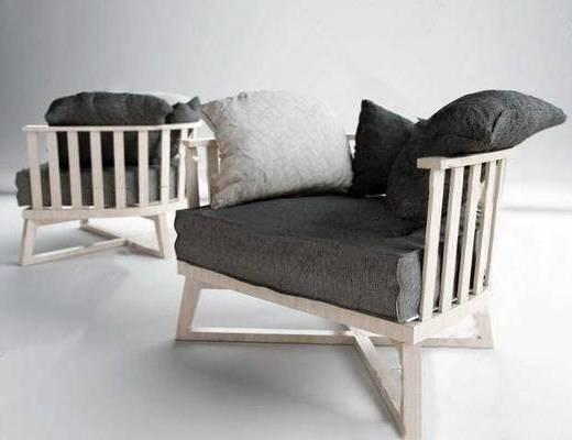 北欧简约, 现代简约, 实木沙发, 沙发椅
