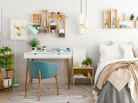 北欧简约, 床, 桌椅组合, 吊灯, 陈设品组合